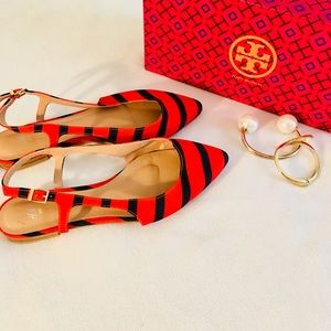 H&M Red Blue Striped Slingback Pointy Flat Sandals